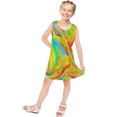 Happy Multicolor Painting Kids  Tunic Dress