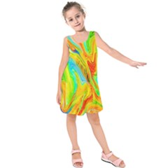 Happy Multicolor Painting Kids  Sleeveless Dress