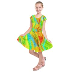 Happy Multicolor Painting Kids  Short Sleeve Dress