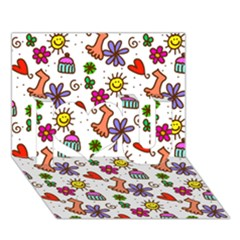 Doodle Pattern I Love You 3D Greeting Card (7x5)