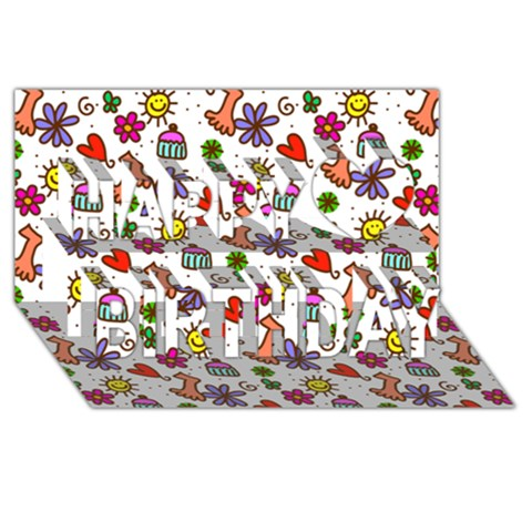 Doodle Pattern Happy Birthday 3D Greeting Card (8x4)