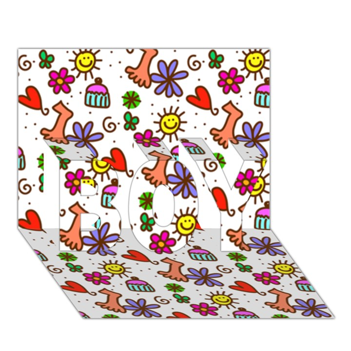 Doodle Pattern BOY 3D Greeting Card (7x5)