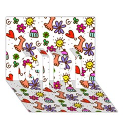 Doodle Pattern GIRL 3D Greeting Card (7x5)