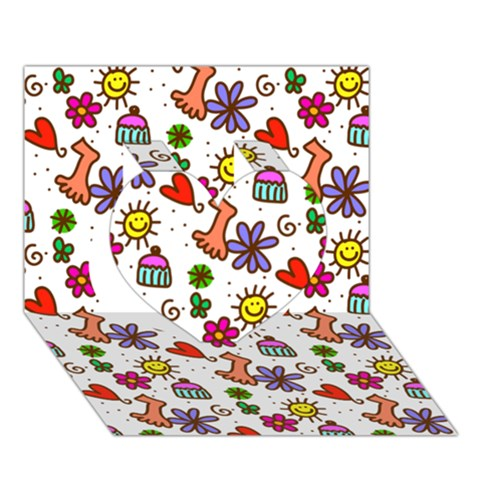 Doodle Pattern Heart 3D Greeting Card (7x5)