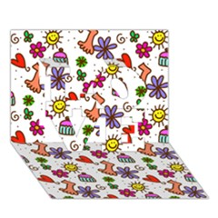 Doodle Pattern LOVE 3D Greeting Card (7x5)