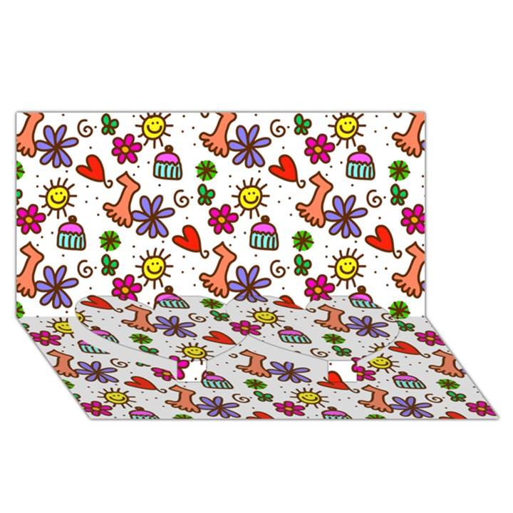 Doodle Pattern Twin Heart Bottom 3D Greeting Card (8x4)