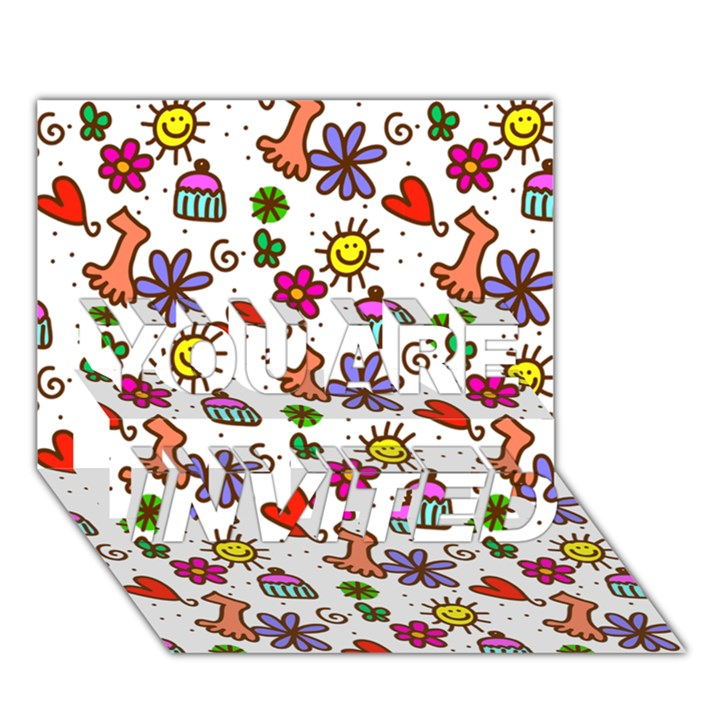 Doodle Pattern YOU ARE INVITED 3D Greeting Card (7x5)