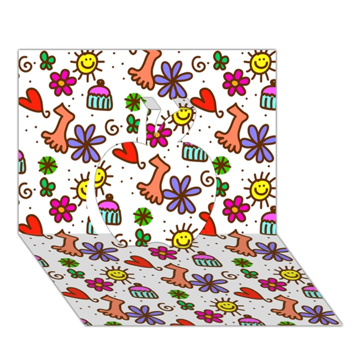 Doodle Pattern Apple 3D Greeting Card (7x5)