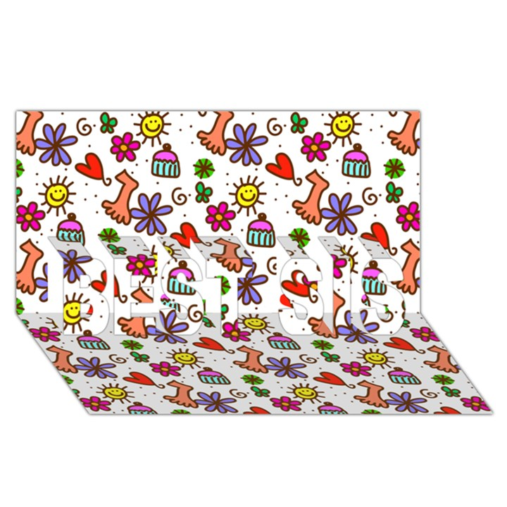 Doodle Pattern BEST SIS 3D Greeting Card (8x4)
