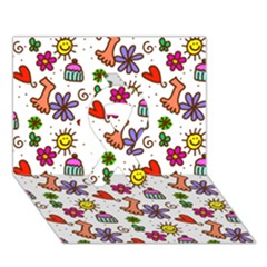 Doodle Pattern Ribbon 3D Greeting Card (7x5)