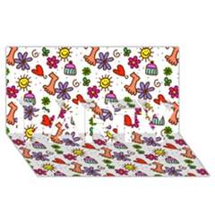 Doodle Pattern PARTY 3D Greeting Card (8x4)