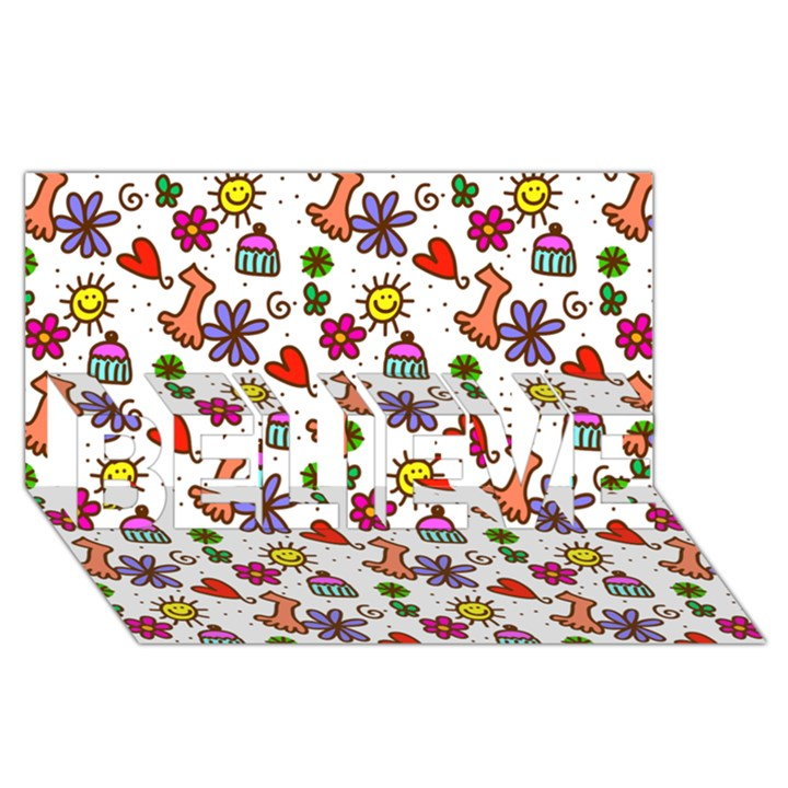 Doodle Pattern BELIEVE 3D Greeting Card (8x4)
