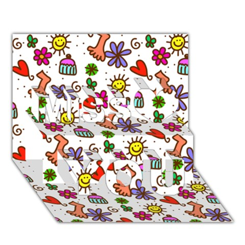 Doodle Pattern Miss You 3D Greeting Card (7x5)