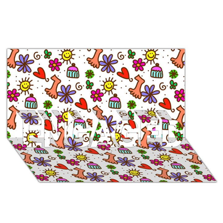Doodle Pattern ENGAGED 3D Greeting Card (8x4)