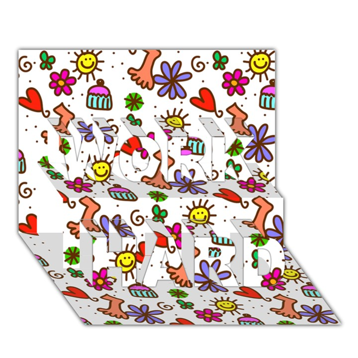 Doodle Pattern WORK HARD 3D Greeting Card (7x5)