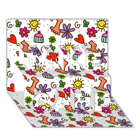 Doodle Pattern TAKE CARE 3D Greeting Card (7x5)