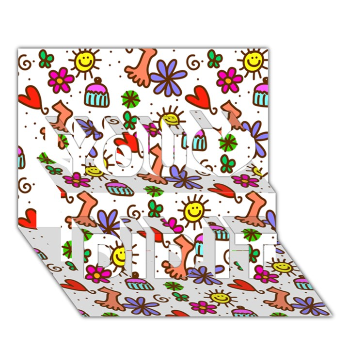 Doodle Pattern You Did It 3D Greeting Card (7x5)