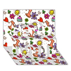 Doodle Pattern Get Well 3D Greeting Card (7x5)