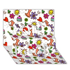 Doodle Pattern You Rock 3D Greeting Card (7x5)