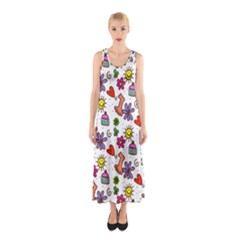 Doodle Pattern Sleeveless Maxi Dress
