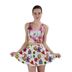 Doodle Pattern Mini Skirt