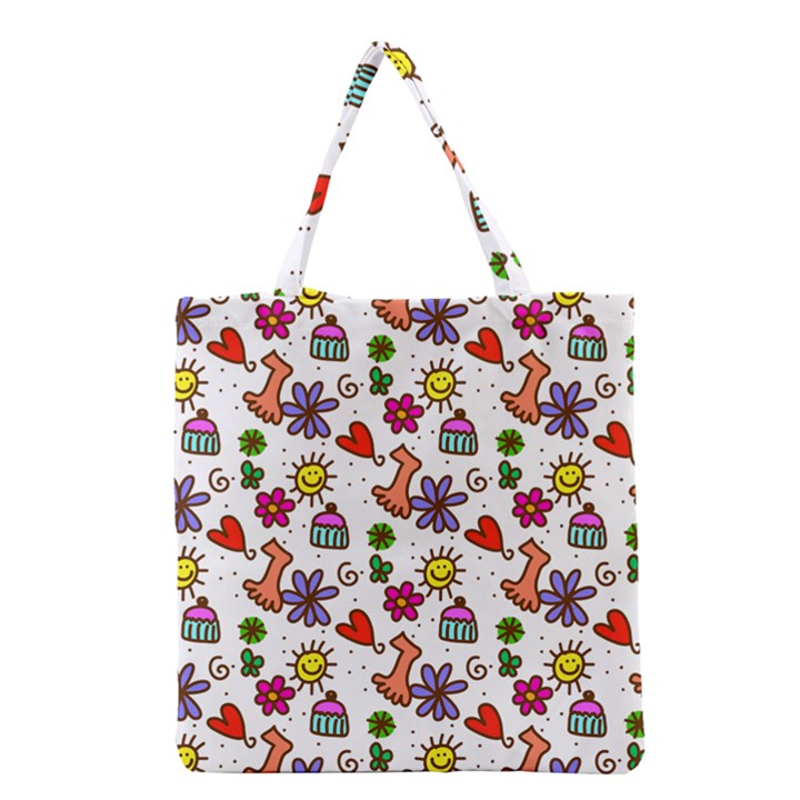 Doodle Pattern Grocery Tote Bag