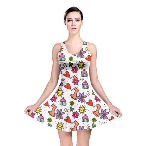 Doodle Pattern Reversible Skater Dress