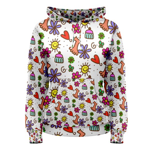 Doodle Pattern Women s Pullover Hoodie