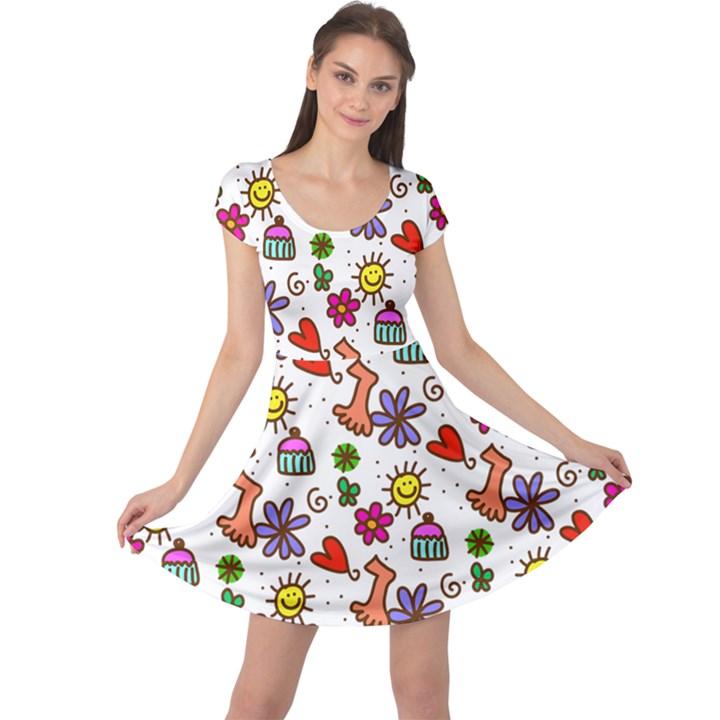 Doodle Pattern Cap Sleeve Dresses