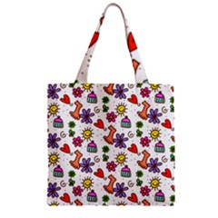 Doodle Pattern Zipper Grocery Tote Bag