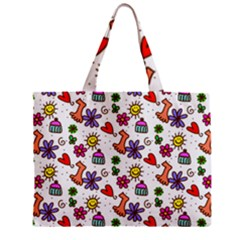 Doodle Pattern Zipper Mini Tote Bag
