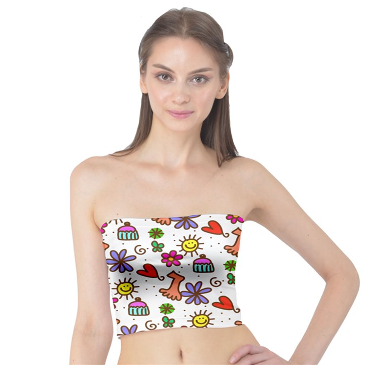 Doodle Pattern Tube Top