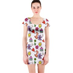 Doodle Pattern Short Sleeve Bodycon Dress