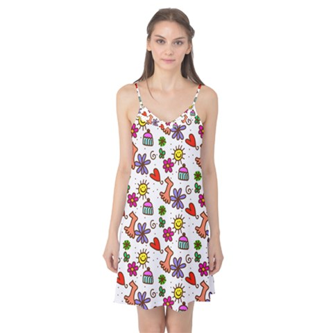 Doodle Pattern Camis Nightgown