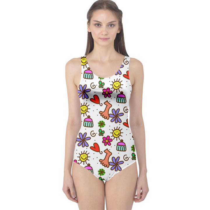 Doodle Pattern One Piece Swimsuit