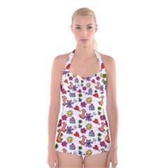 Doodle Pattern Boyleg Halter Swimsuit