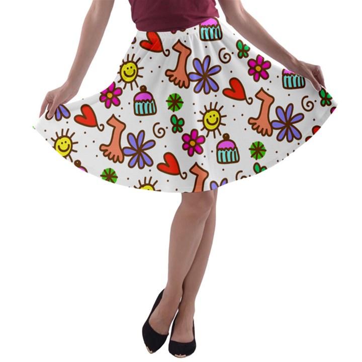 Doodle Pattern A-line Skater Skirt