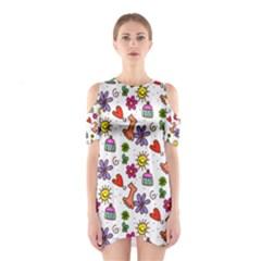 Doodle Pattern Cutout Shoulder Dress