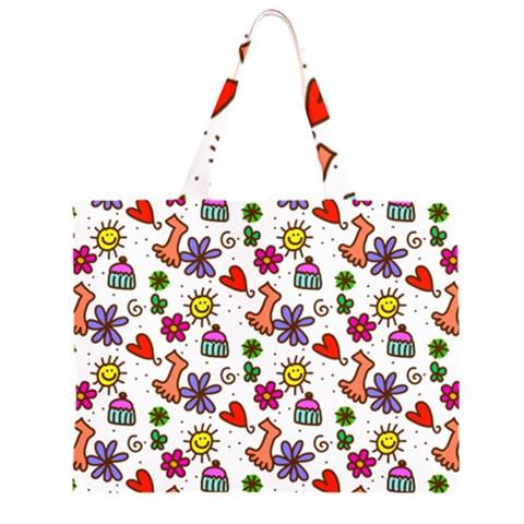 Doodle Pattern Large Tote Bag