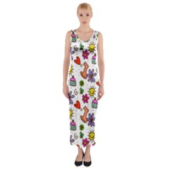 Doodle Pattern Fitted Maxi Dress