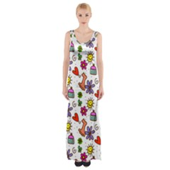 Doodle Pattern Maxi Thigh Split Dress