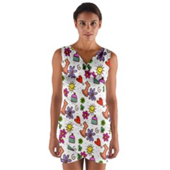 Doodle Pattern Wrap Front Bodycon Dress