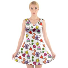 Doodle Pattern V-Neck Sleeveless Skater Dress