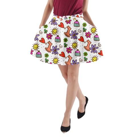 Doodle Pattern A-Line Pocket Skirt