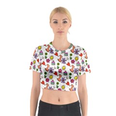 Doodle Pattern Cotton Crop Top