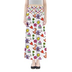 Doodle Pattern Maxi Skirts