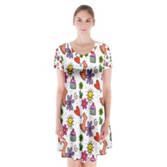 Doodle Pattern Short Sleeve V-neck Flare Dress