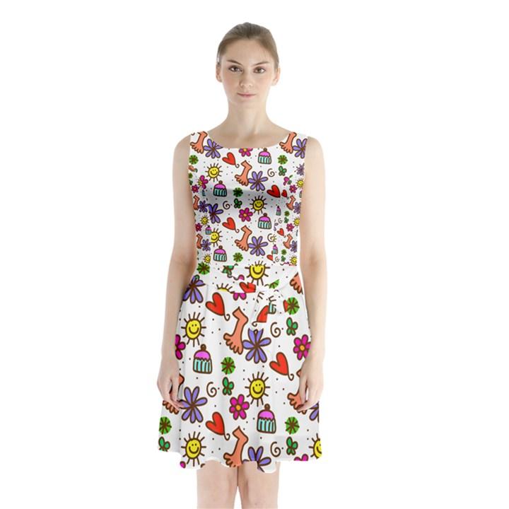 Doodle Pattern Sleeveless Chiffon Waist Tie Dress