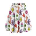 Doodle Pattern High Waist Skirt View1