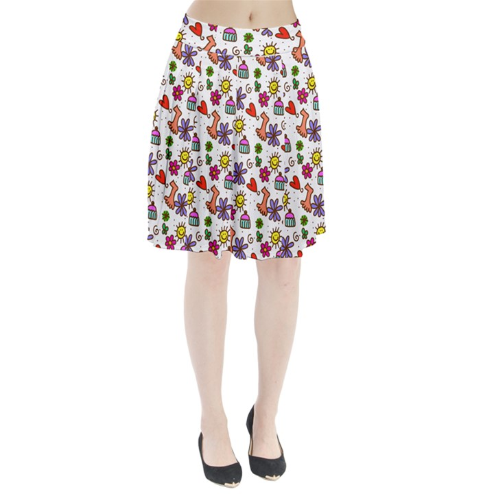 Doodle Pattern Pleated Skirt